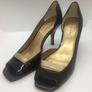 TAHARI SHOES RENE Black Leather with Gold Strap.